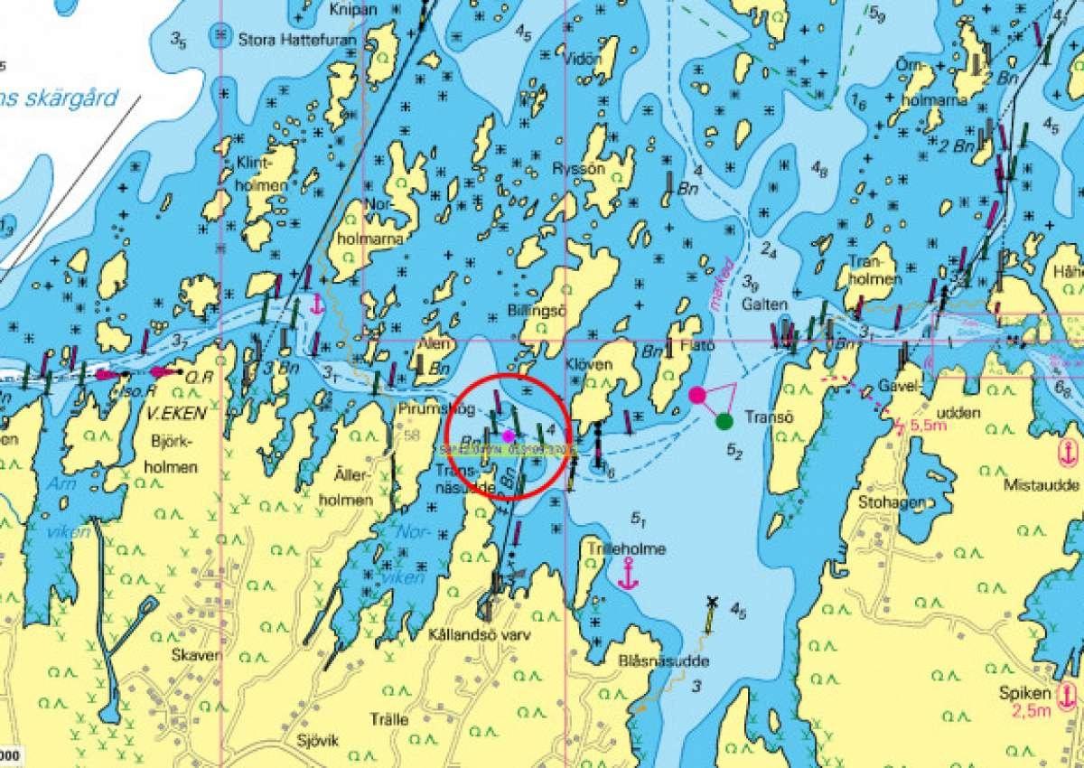 Ekens skärgård - Dangerous underwater rock reported - Navinfo